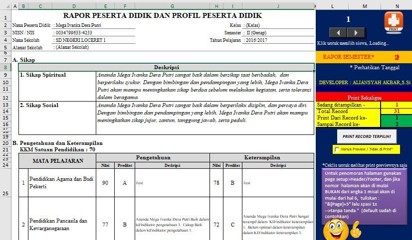 Aplikasi Rapor Excel Kurikulum 2013 Revisi Buku Panduan