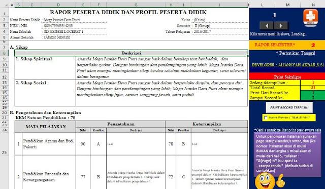 Hasil Cetak rapor Kurikulum 2013 SD/MI
