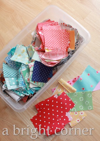 Fabric scraps in bins