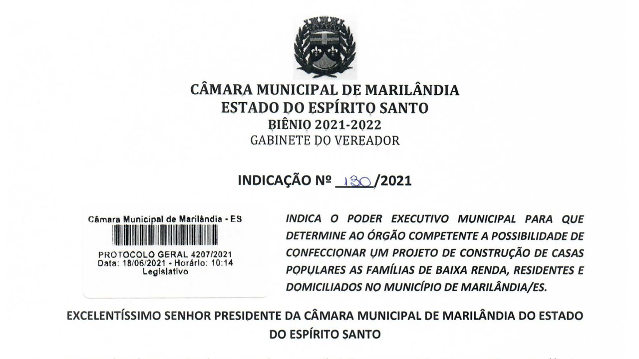 Paulinho Costa redige solicitacao de projeto para construcao de casas  para populacao carente de Marilandia-ES