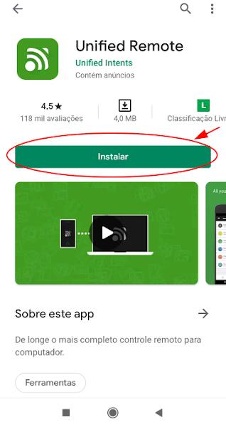 Botão de instalar aplicativo mobile Unified Remote