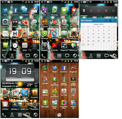 Home page and menu page screenshot of android 2.3 smartphone gingerbread