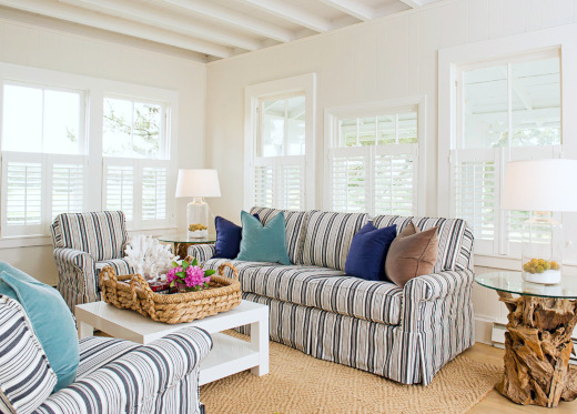 Small Coastal Living Room with Striped Sofa and Chairs