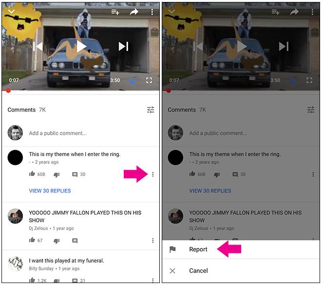 app mobile Youtube segnalare commenti