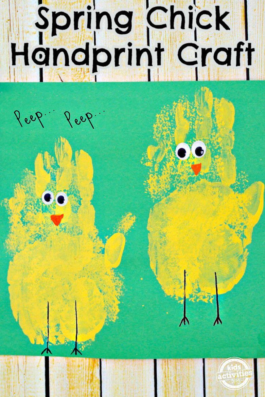 spring chick handprint art