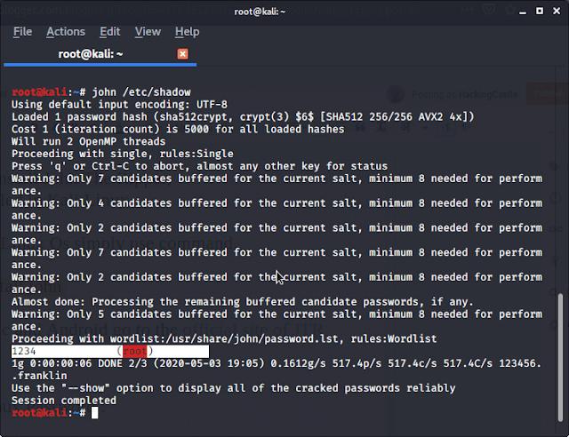 Cracking Linux Password: