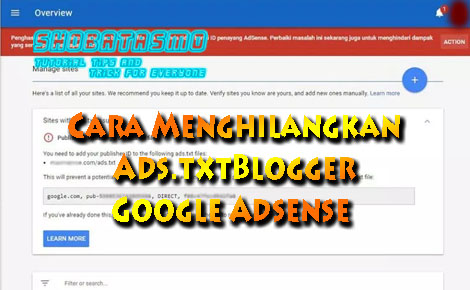 Cara Menghilangkan Ads.txt Blogger Google Adsense Terbukti Berhasil
