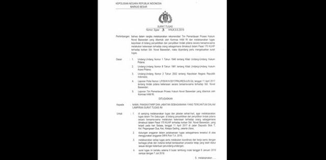 Kapolri Keluarkan Surat Tugas Khusus untuk Bongkar Kasus Novel Baswedan