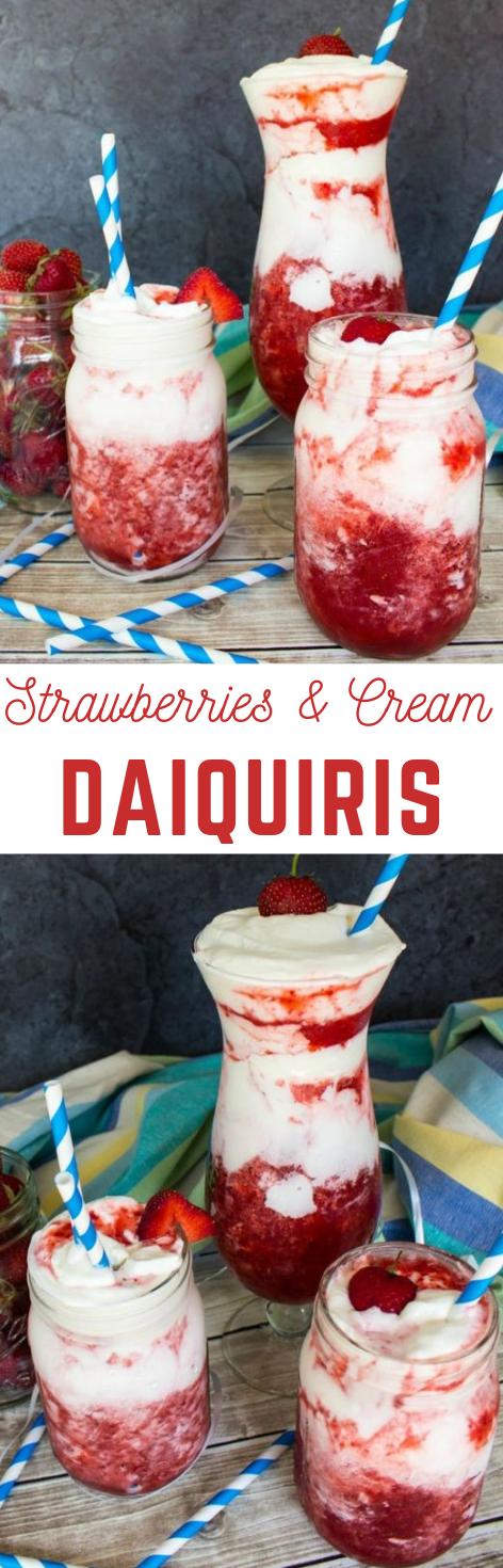 Strawberries & Cream Daiquiris #drink #cocktail