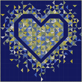 Exploding Heart quilt using the Forget Me Not collection from Dandelion Fabric & Co
