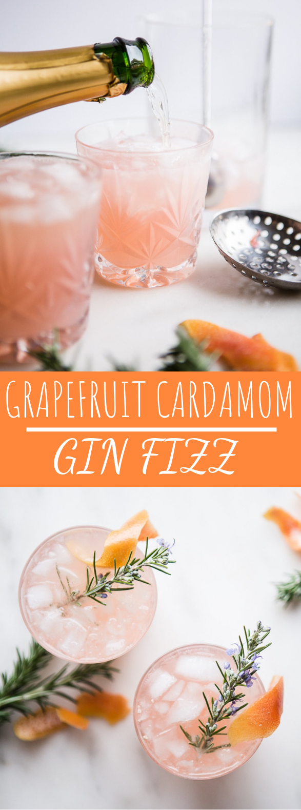 Grapefruit Cardamom Gin Fizz #cocktails #partydrinks
