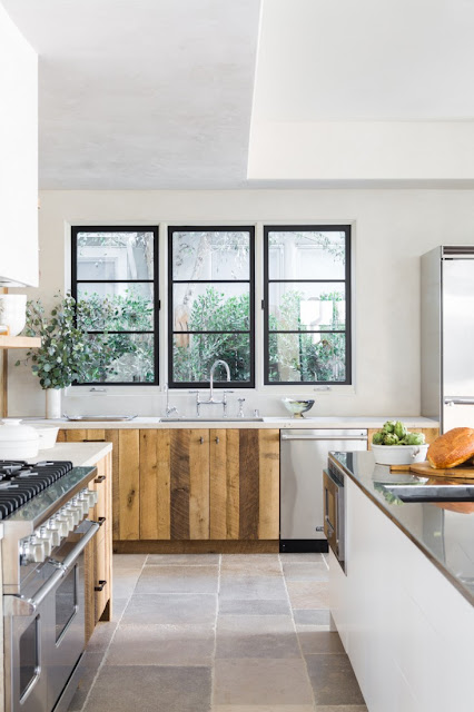 Beautiful minimal kitchen villa with European inspired interiors by Leigh Herzig - seen on Hello Lovely
