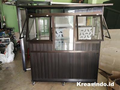 Gerobak Aluminium Bakso Dua Tungku Warna Coklat pesanan Bpk Guntoro di Priok Jakarta