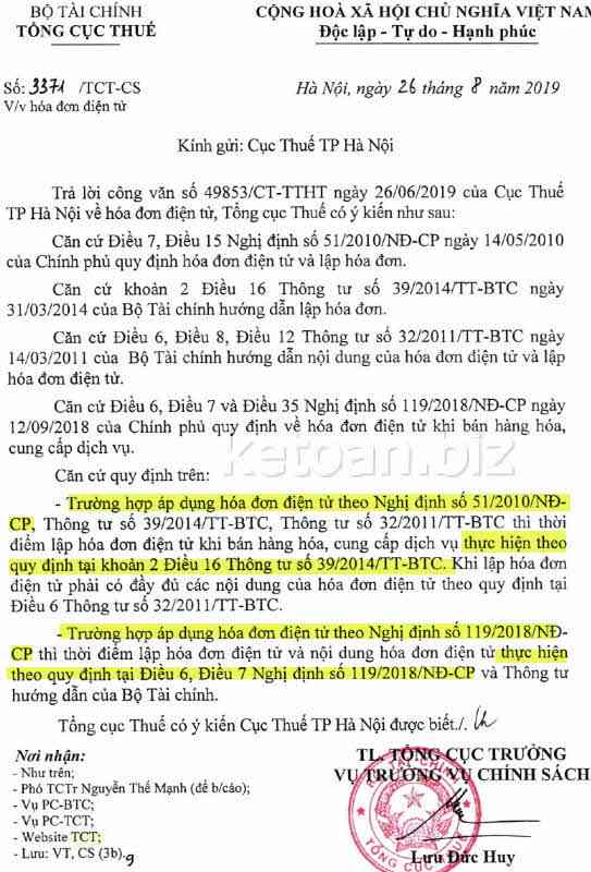 Quy định thời điểm lập hóa đơn điện tử theo Nghị định 119/2018/NĐ-CP hay theo Nghị định 51/2010/NĐ-CP?
