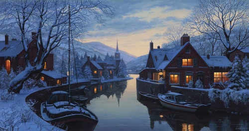 03-An-Old-Inn-by-the-River-Evgeny-Lushpin-Scenes-of-Realistic-Night-Time-Paintings-www-designstack-co