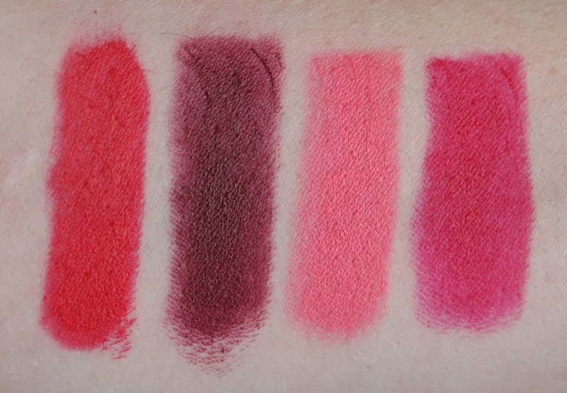 Wet n Wild Red Velvet, Cherry Bomb, Pinkerbell, Cherry Picking Swatches