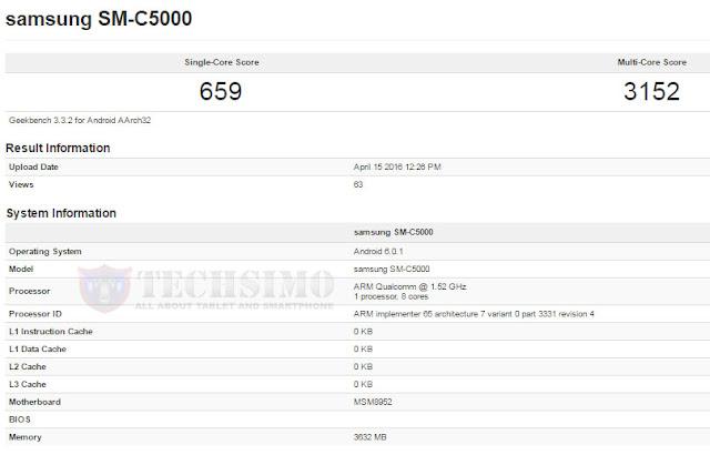 Samsung Galaxy C5 SM-C5000 muncul di situs patokan Geekbench