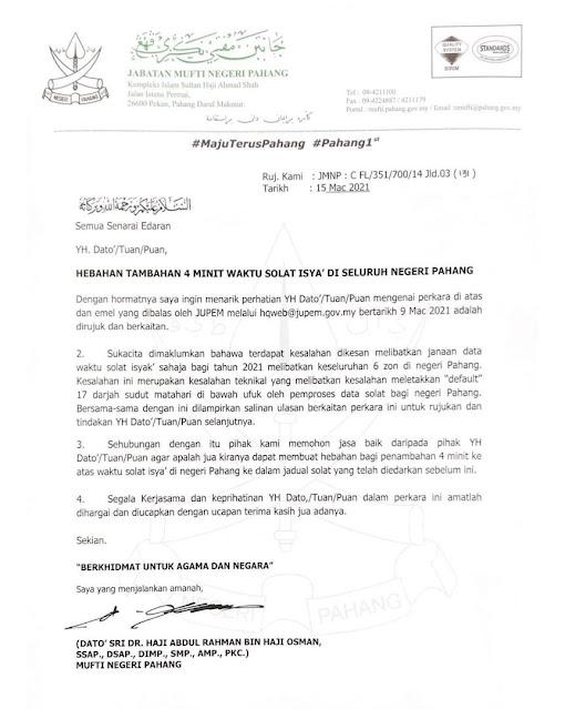 Tambahan 4 minit Waktu Solat Isyak Di Seluruh Negeri Pahang