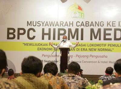 Akhyar Ajak HIPMI jadi Pelopor Perekonomian Kota Medan di Tengah Pandemi Covid 19