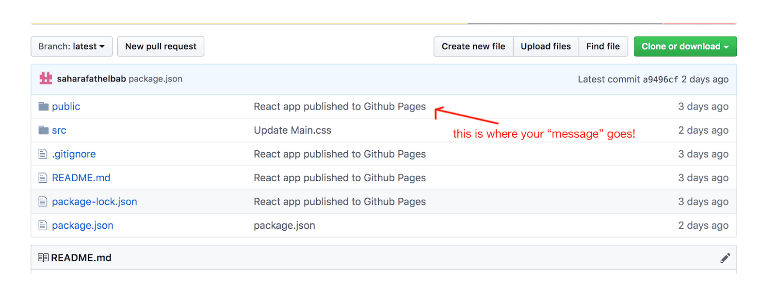 "The ""message"" that you're typing shows up in a column in github platform"