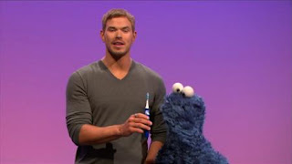 Vibrate is the word on the Street. Kellan Lutz shows Cookie Monster things that vibrate. Sesame Street Episode 4326 Great Vibrations season 43