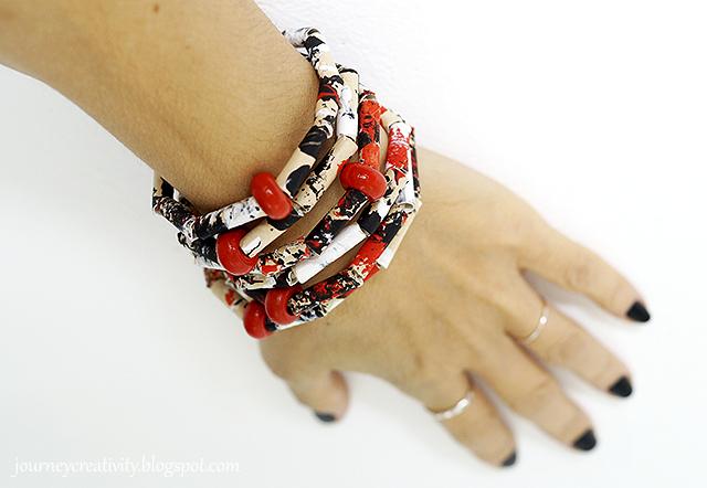 Paper straws bracelet