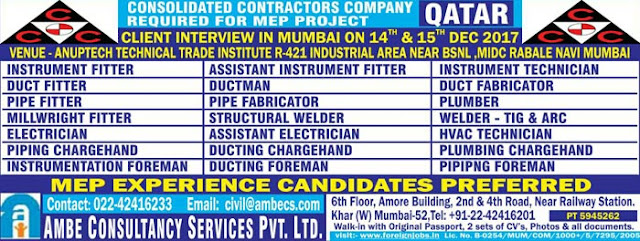 MEPHot  Jobs, CCC Jobs, Qatar Jobs, Gulf Jobs Walk-in Interview, Instrumentation Jobs, HVAC Jobs, Welding Jobs, Piping Jobs, Fitter, Electrical Jobs, Mumbai Interviews,