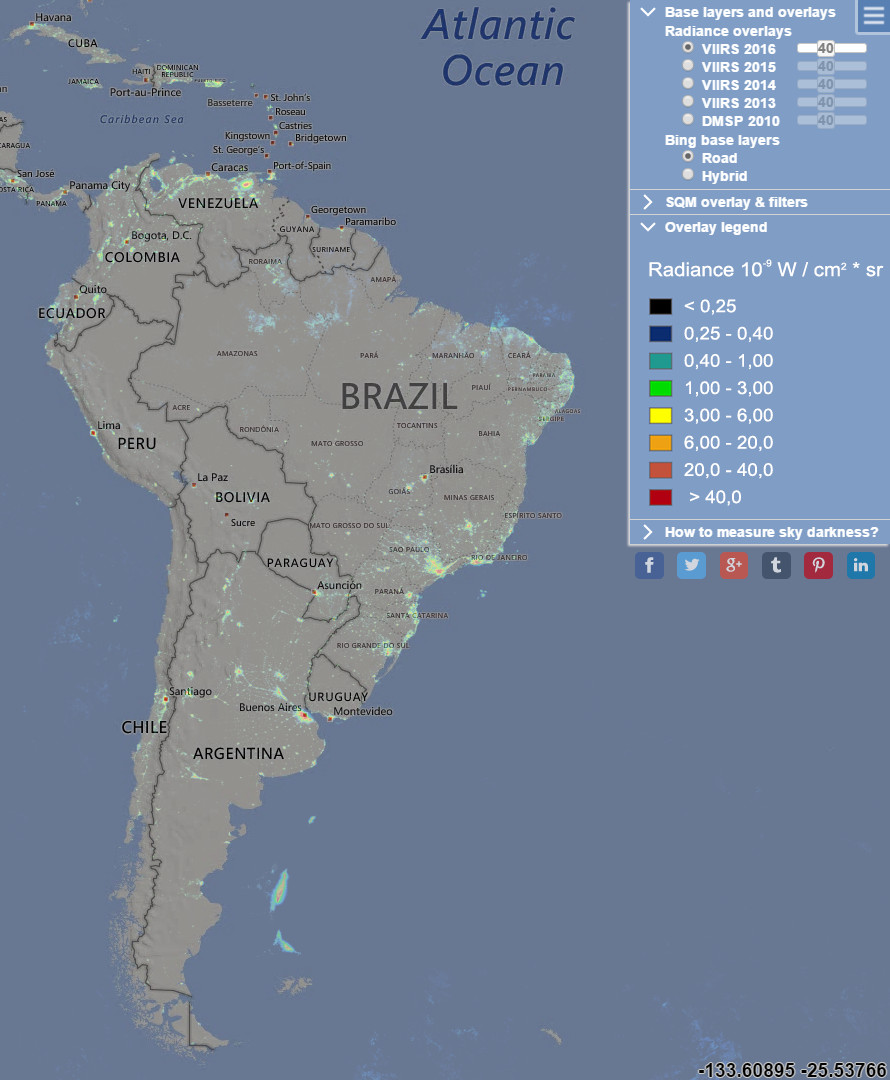 Light Pollution Map: South America