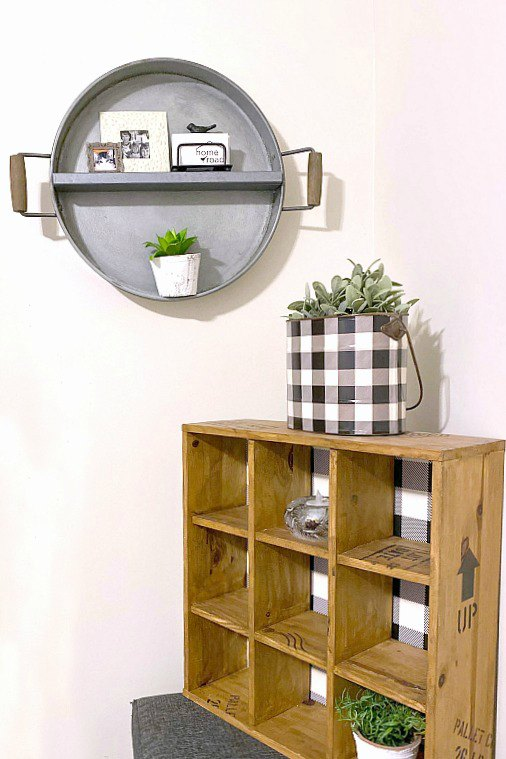 Farmhouse style wall shelf from a tray