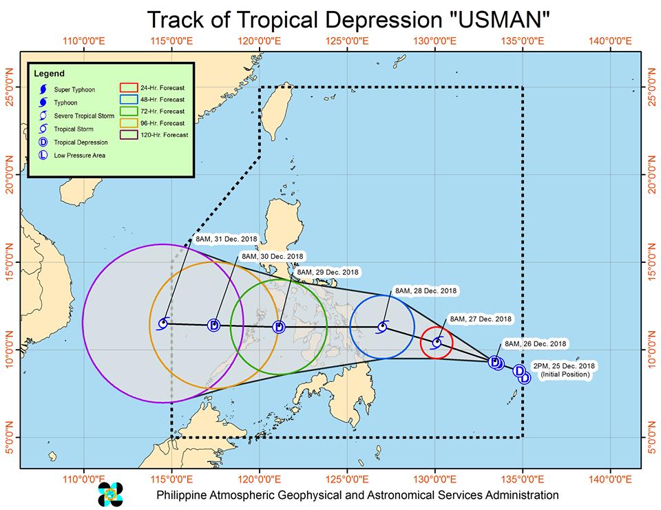 track of tropical depression Usman
