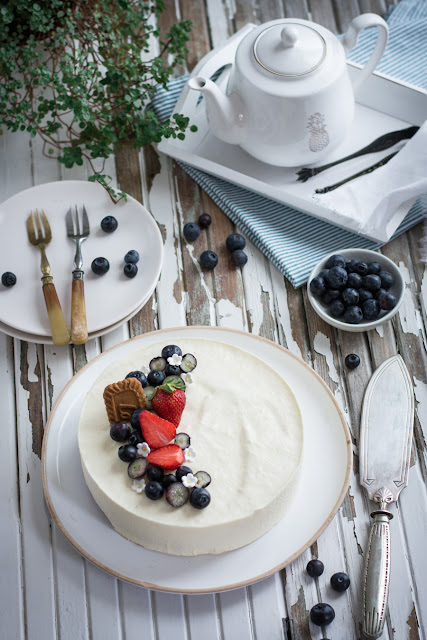 Cheesecake aux myrtilles et spéculoos