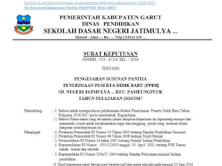 Contoh SK Panitia PPDB/PSB SD Tahun ajaran 2016-2017 dari Kepala Sekolah