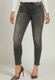 Guess Jeans - Дамски прилепнали тъмносиви Дънки