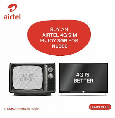 Airtel 4G Get Double Data - 3GB for Just N1,000 Purchase New Sim Or  Upgrade