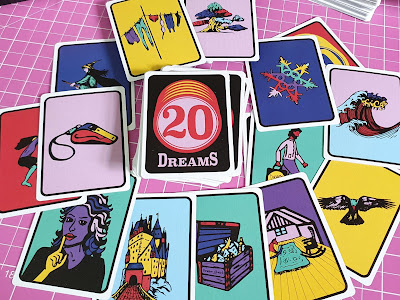 20 Dreams teenagers card game review storyboard cards displayed in circle formation on table