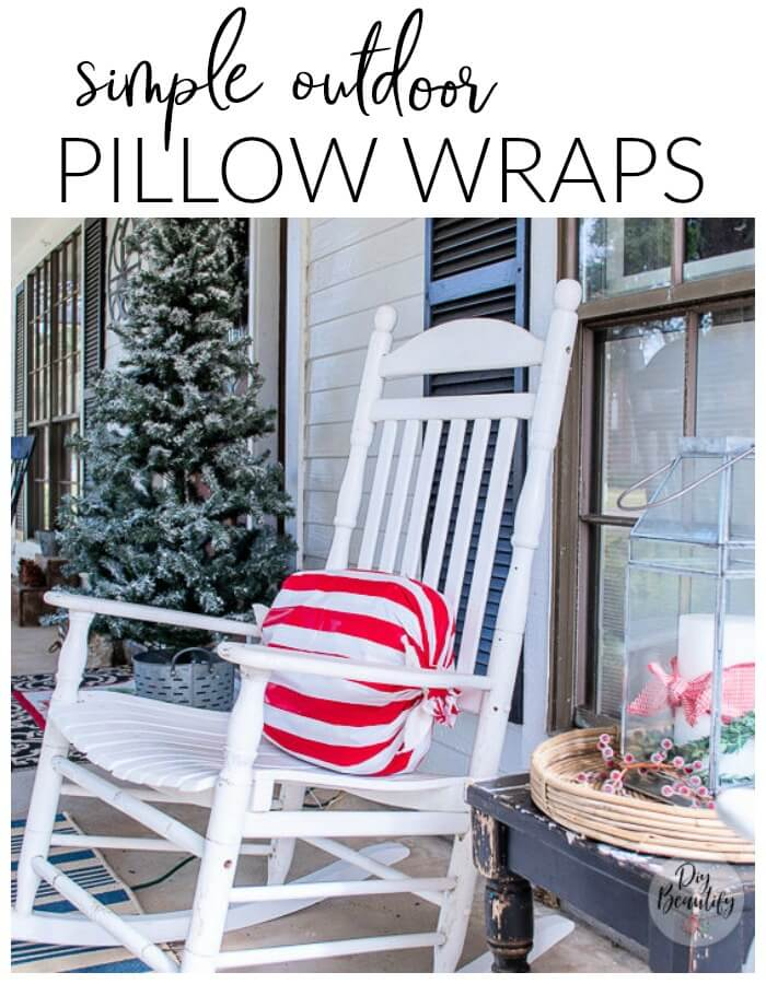 Christmas porch with peppermint candy striped pillow wraps