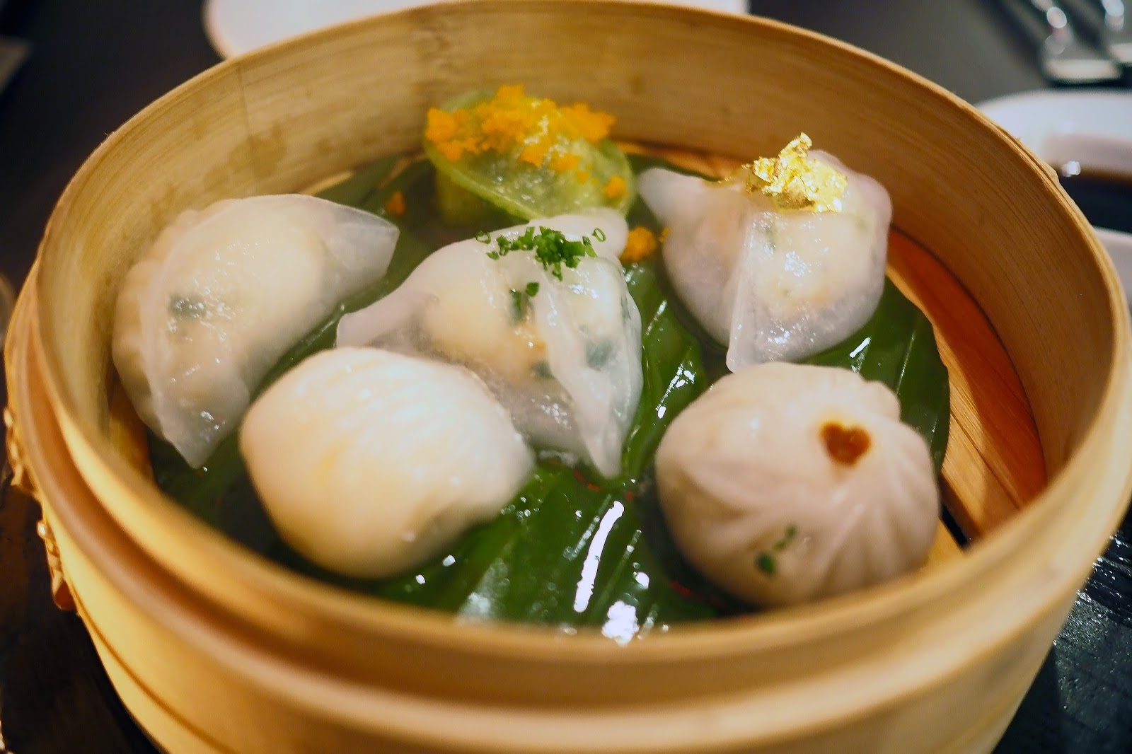 mixed seafood and spinach dumplings