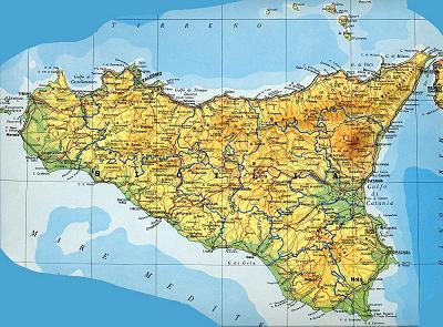 Immagini Cartina Della Sicilia.Palermo Cartina Fisica