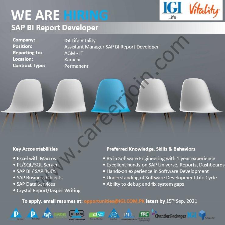 IGI Life Insurance Company Limited Jobs September 2021