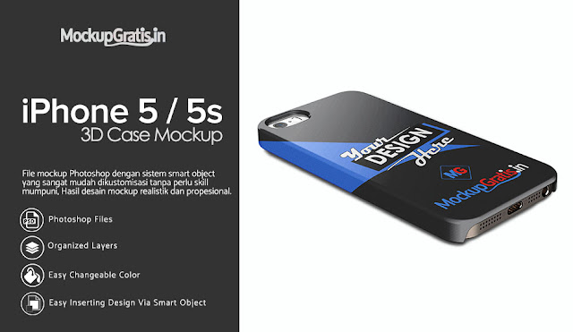 PSD Mockup Custom Case iPhone 5 / 5s Gratis