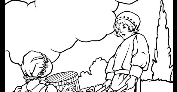 Wheelbarrows: Mother Goose coloring page from Dover Books
