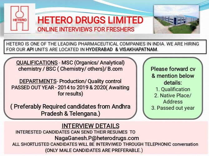 Hetero Drugs Ltd Online job Interviews for Production, Quality Control
