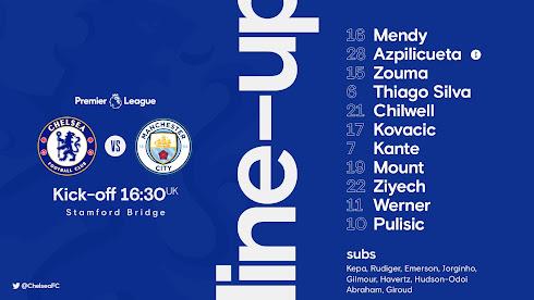 Line Up Chelsea vs Manchester City