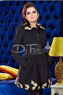 Palton de iarna  de femei negru cu imprimeu