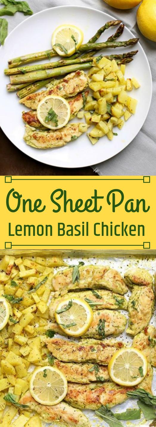 ONE SHEET PAN LEMON BASIL CHICKEN #healthydinner #lemon #basil #chicken #beef