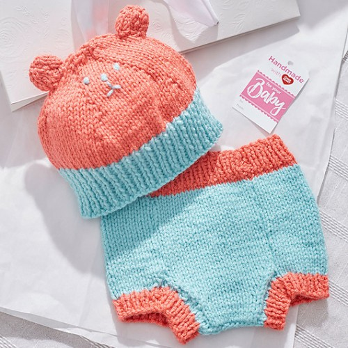 Knit Bear Hat & Diaper Cover - Free Pattern