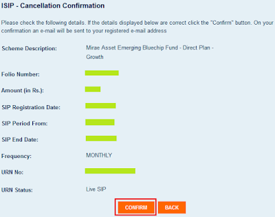 Mirae Asset Mutual Fund - Online SIP Cancellation
