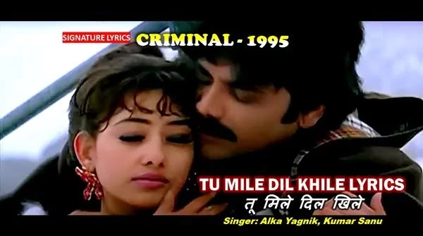 Tu Mile Dil Khile Lyrics - CRIMINAL 1995