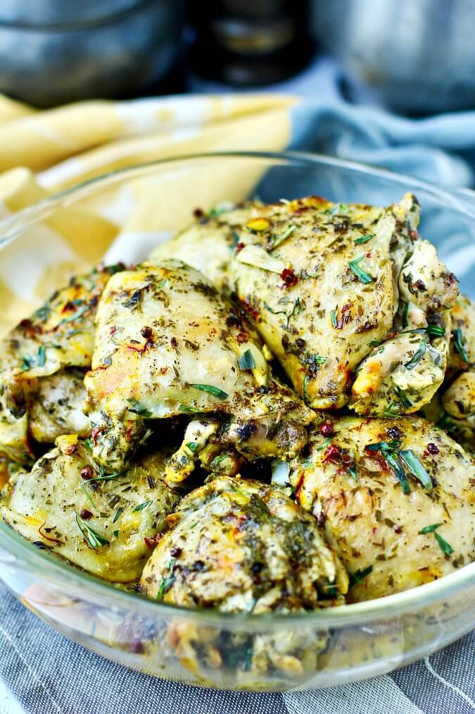 Roasted Chicken with Sunchokes and Lemon and pink peppercorns