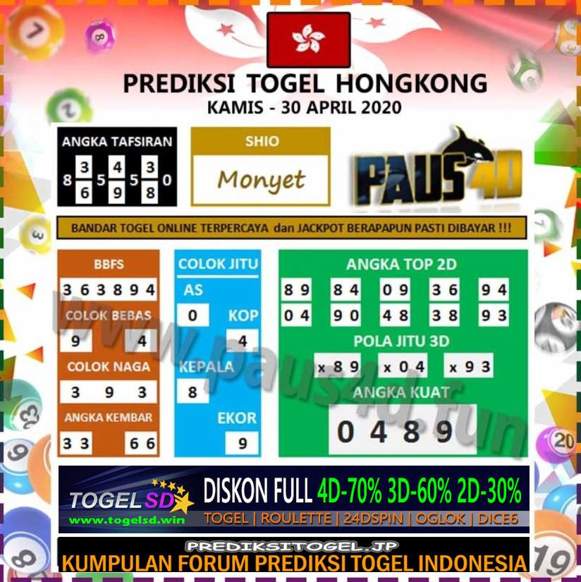 Prediksi Togel Hongkong 30 April 2020 - Prediksi Paus4D